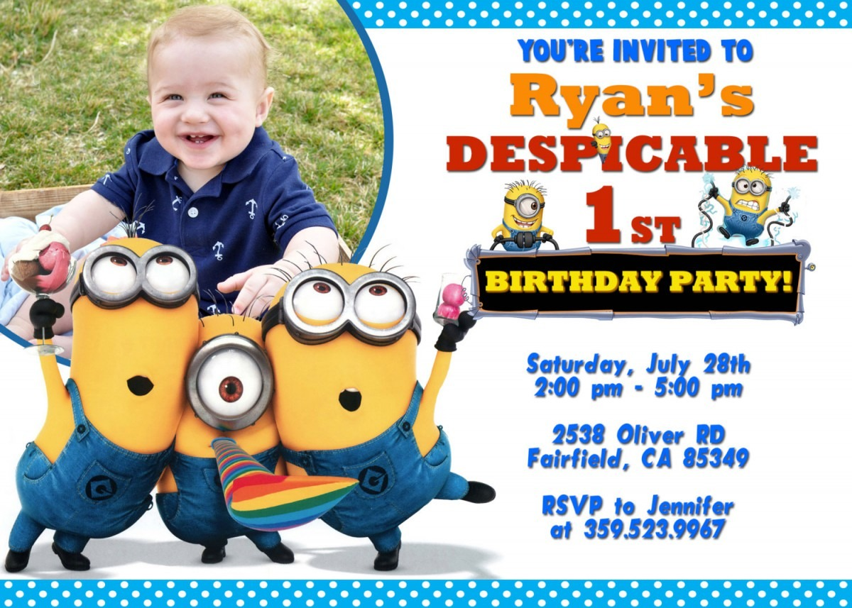 Despicable Me Party Invitations Despicable Me Party Invitations