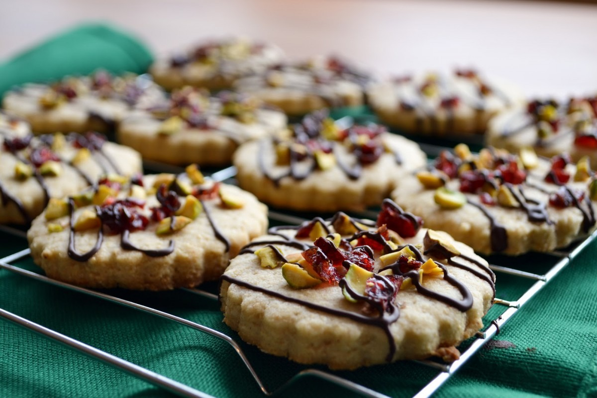 Chocolate Drizzled Cranberry Pistachio Cookies