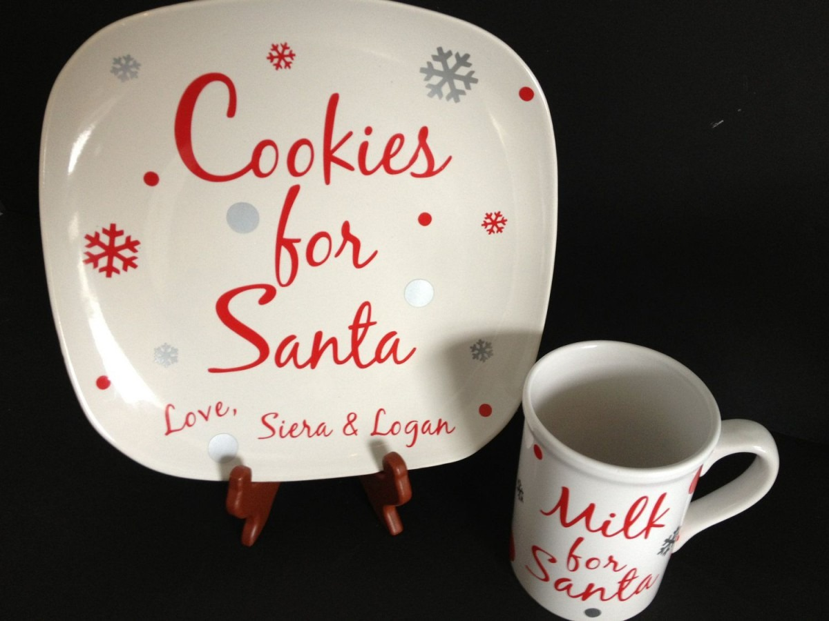 Cookies For Santa Plate & Milk For Santa Set  Choose Your Words