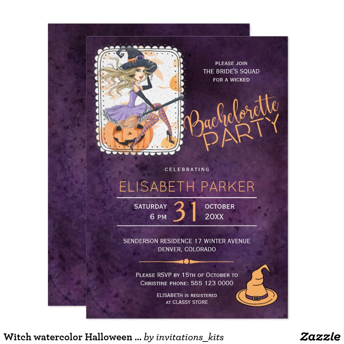 Witch Watercolor Halloween Bachelorette Party Invitation In 2018