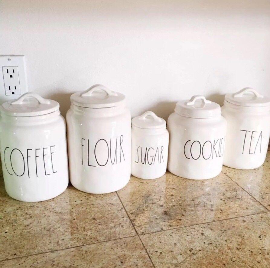 New! Rae Dunn Tea Cookies Coffee Sugar Flour Canisters Starter Set