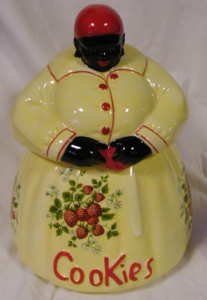 Black Americana Mammy Cookie Jar Yellow W  Strawberries