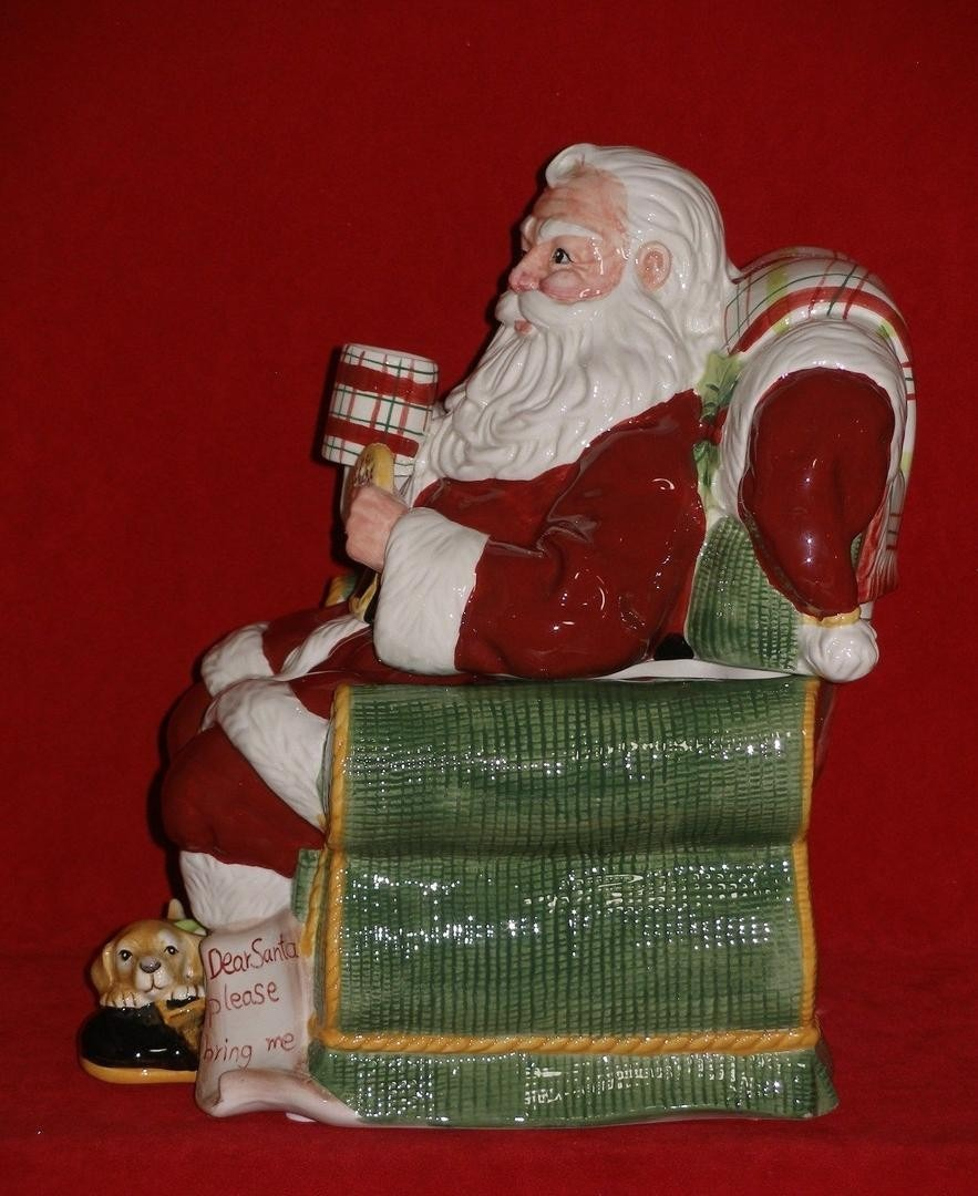 Fitz And Floyd Dear Santa Cookie Jar Figure Canister Christmas Dog
