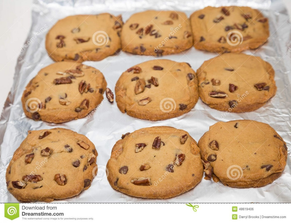 Fresh Baked Cookies On Foil Stock Photo