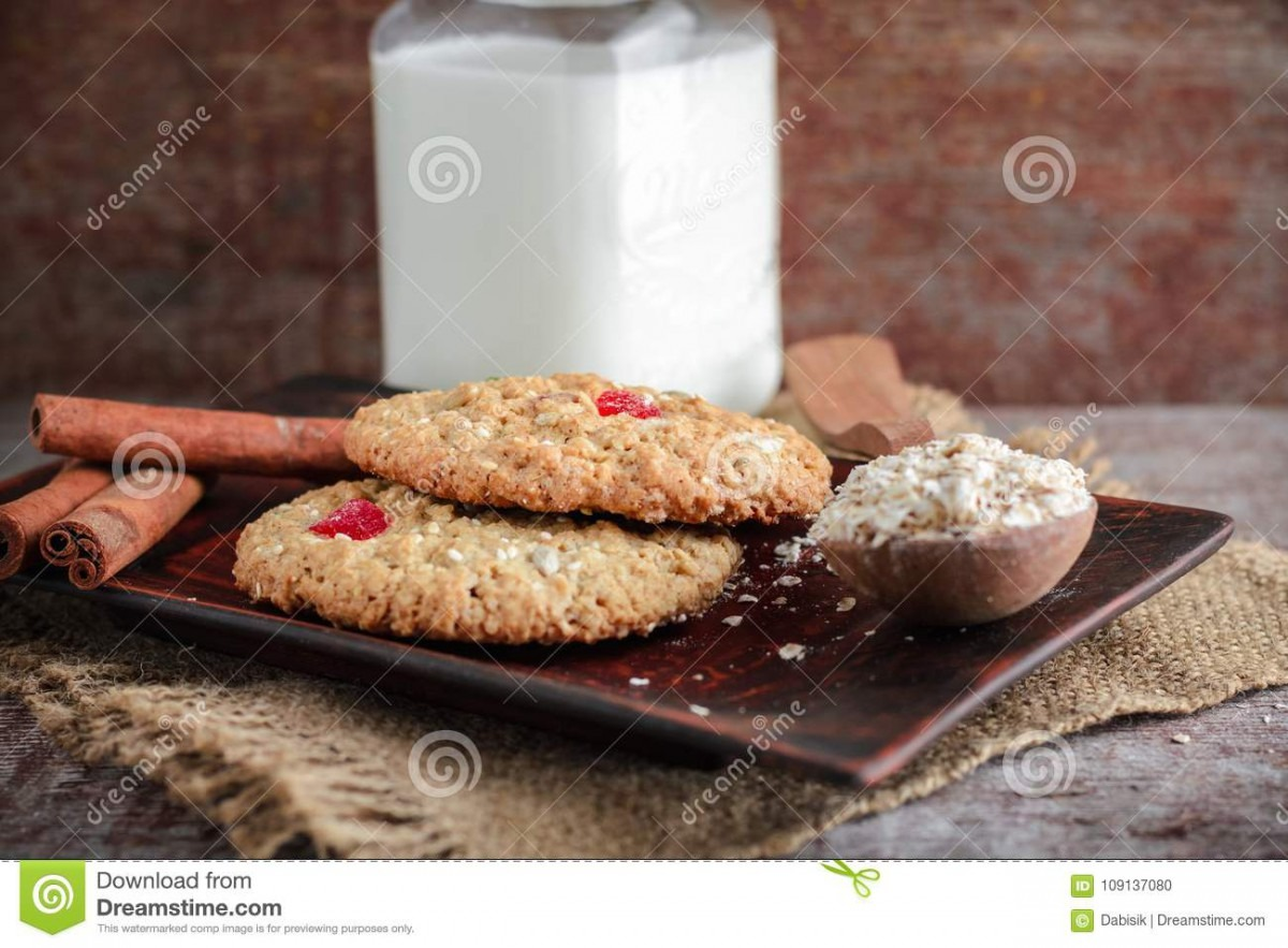 Homemade Oatmeal Cookies And A Mug Of Milk Stock Photo