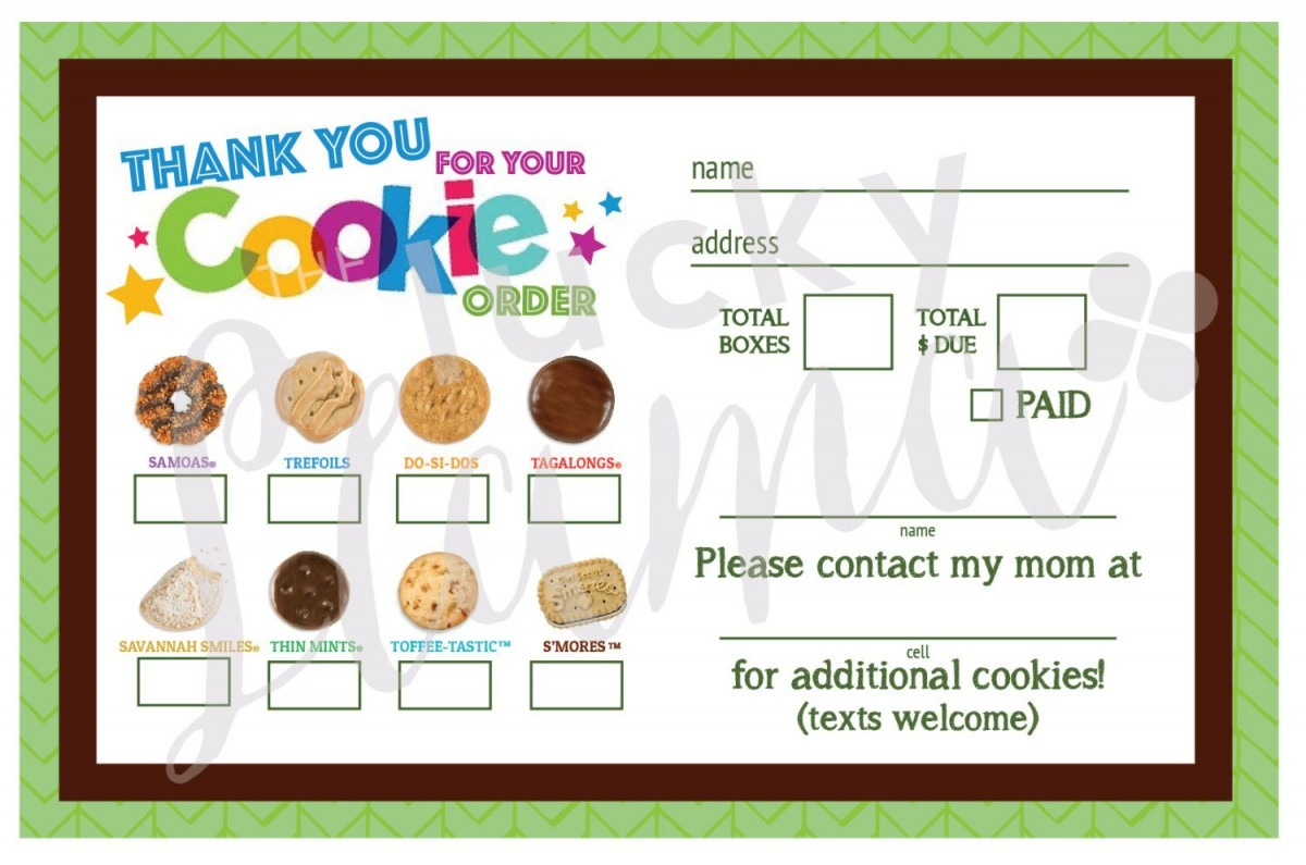 Printable Girl Scout Cookie Order Form 2017