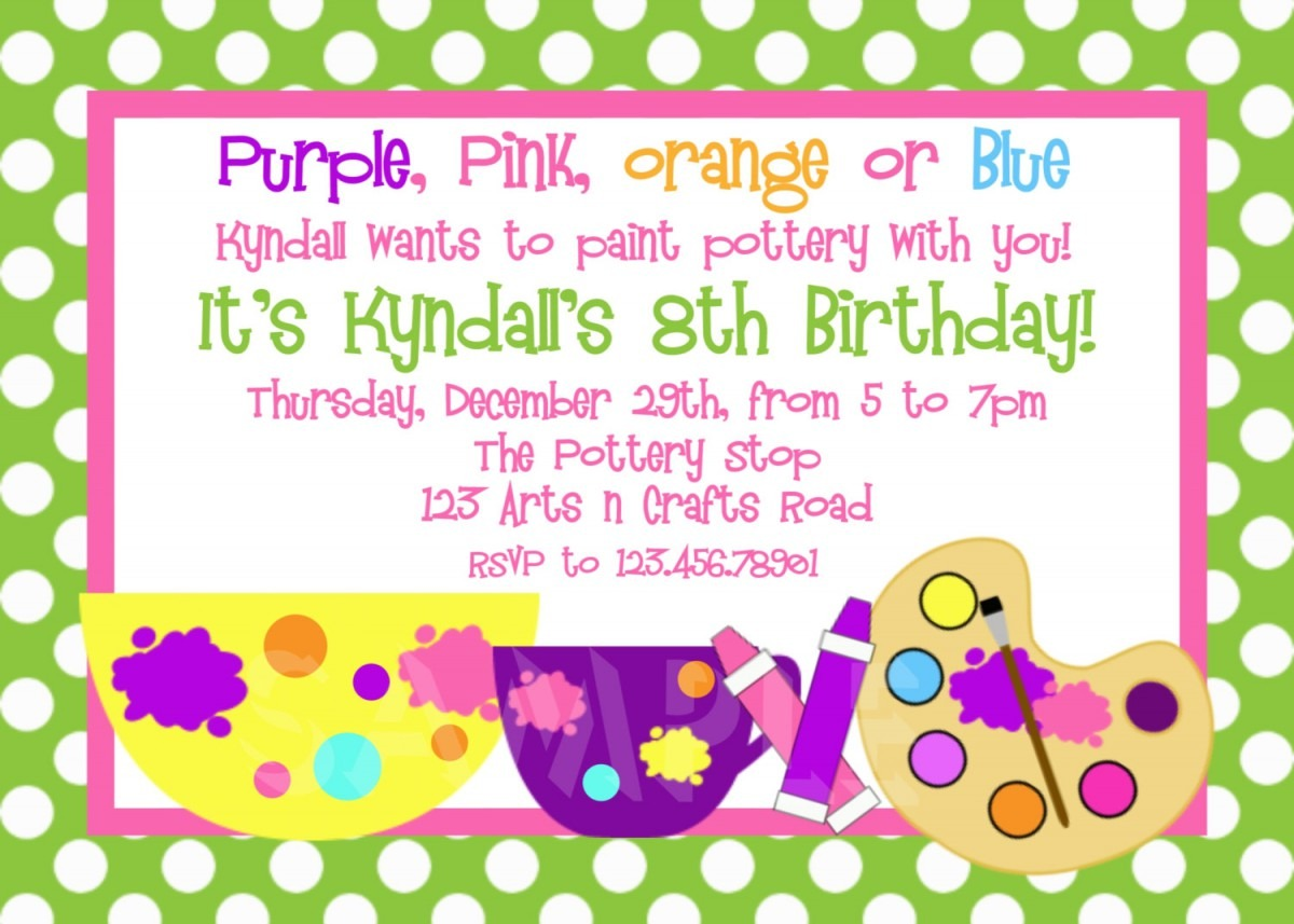 Printable Birthday Invitations, Girls Pottery Painting Party