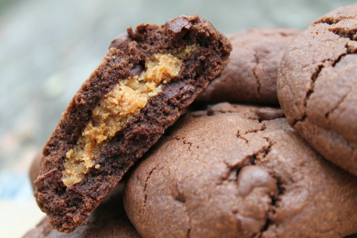 My View From The Avenue  Peanut Butter Stuffed Chocolate Fudge Cookies