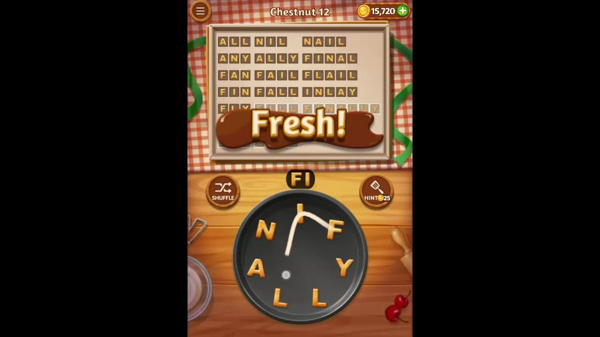 Word Cookies Chestnut Pack Level 12 Answers