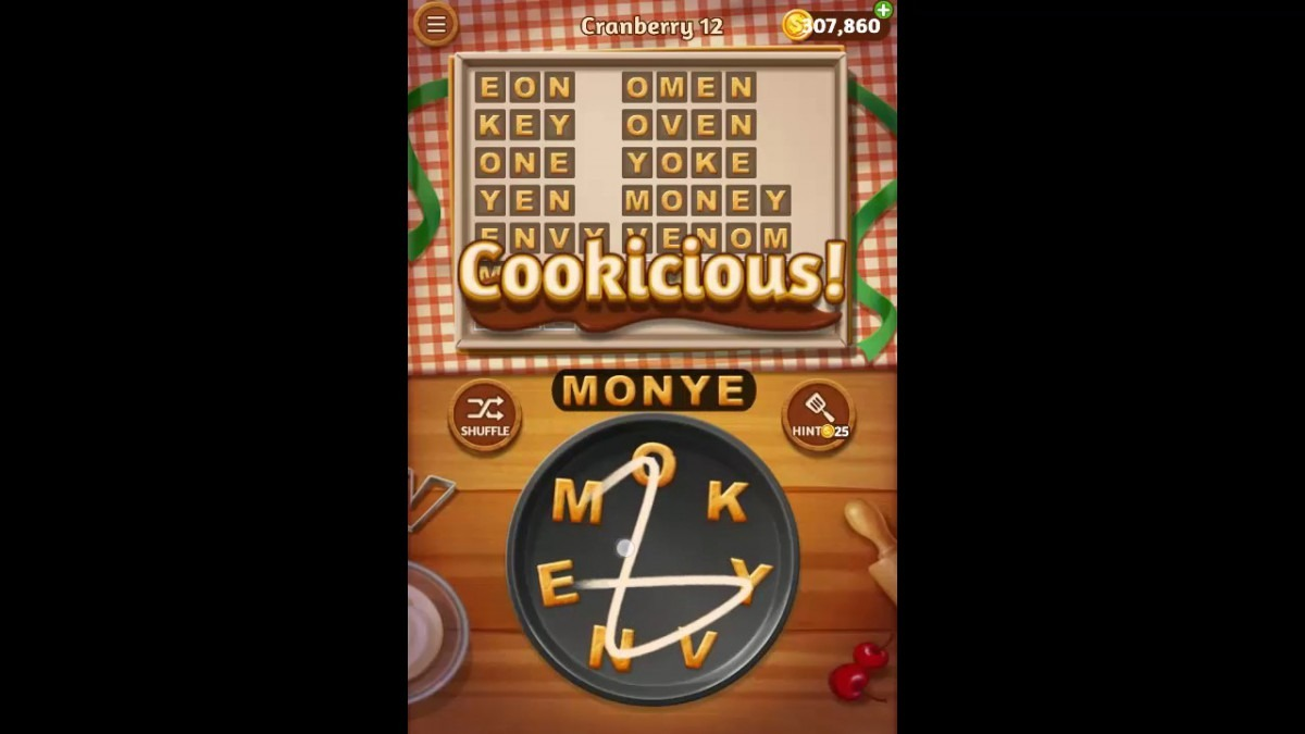 Word Cookies Cranberry Pack Level 12 Answers