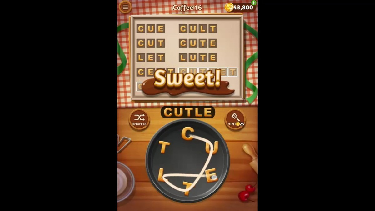 Word Cookies Coffee Pack Level 16 Answers