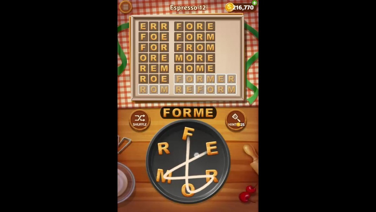 Word Cookies Espresso Pack Level 12 Answers