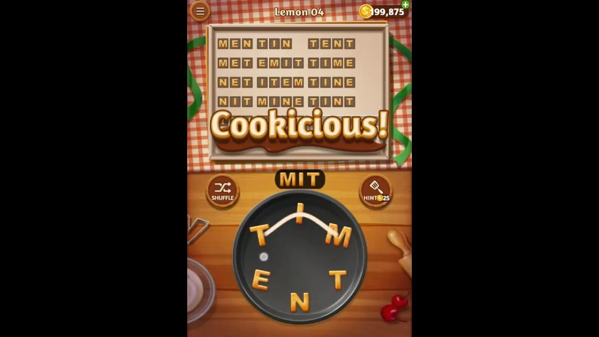 Word Cookies Lemon Pack Level 4 Answers