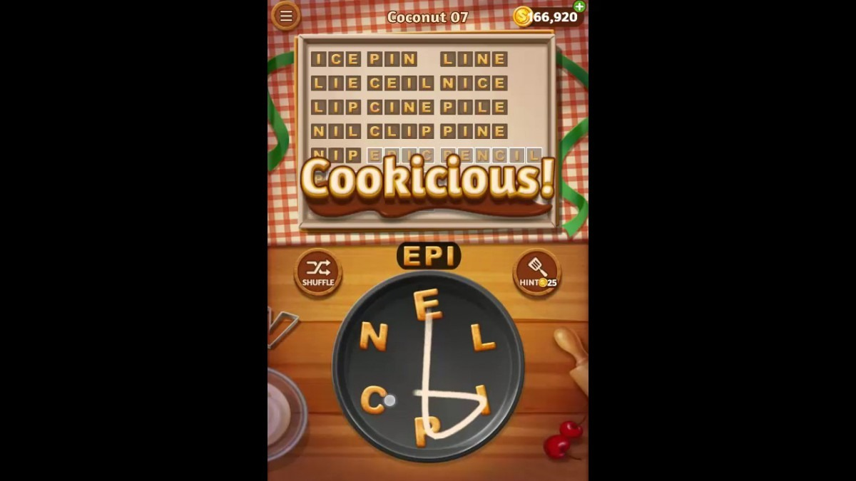 Word Cookies Coconut Pack Level 7 Answers