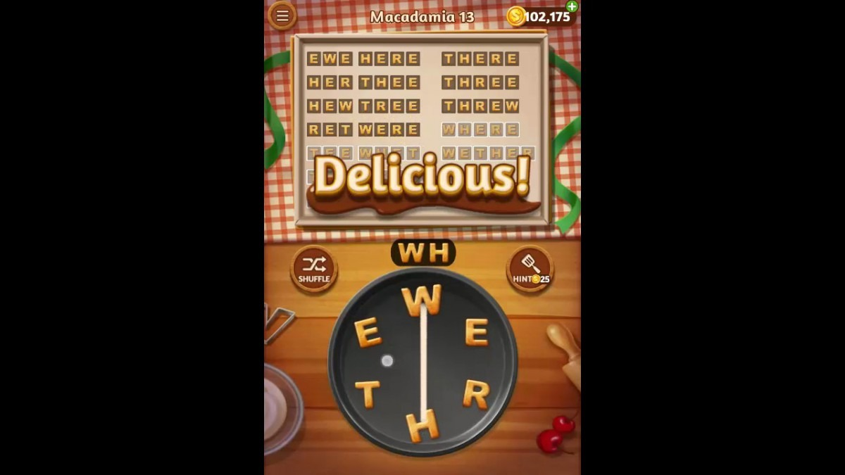 Word Cookies Macadamia Pack Level 13 Answers