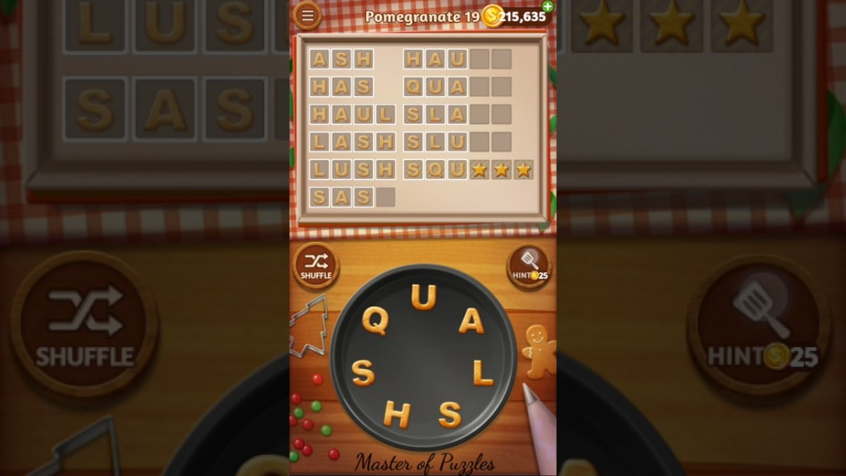 Word Cookies Pomegranate Level 19 Star Chef Solved
