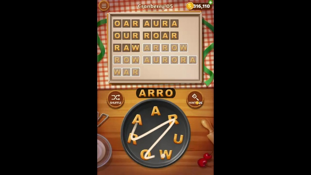 Word Cookies Cranberry Pack Level 5 Answers