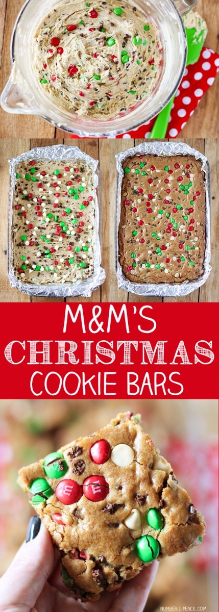 M&m's Christmas Cookie Bars