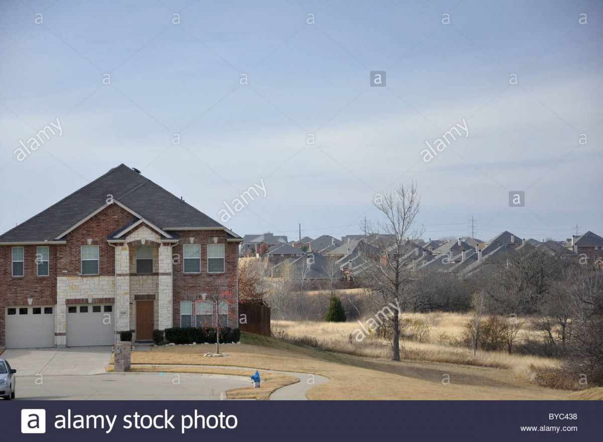 Overpopulation And Cookie Cutter Houses, Frisco, Texas, Usa Stock