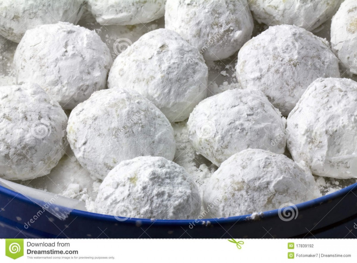 Walnut Snowball Cookies Stock Image  Image Of Christmas