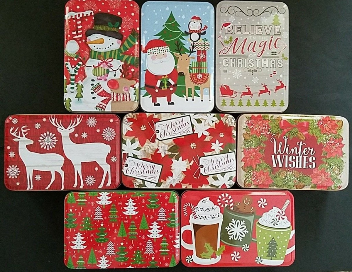 Lot Of 10 Christmas Holiday Cookie Tins With Lids Nesting Gift