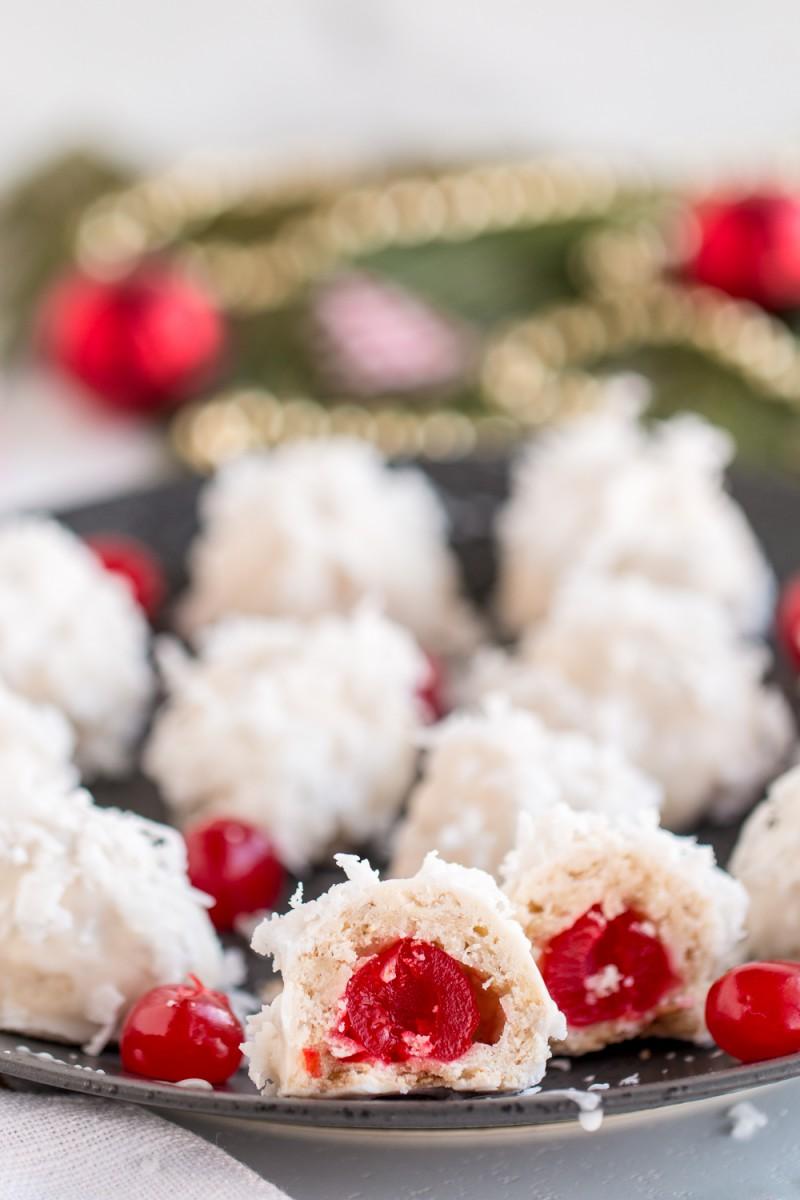 Coconut Cherry Snowball Cookies