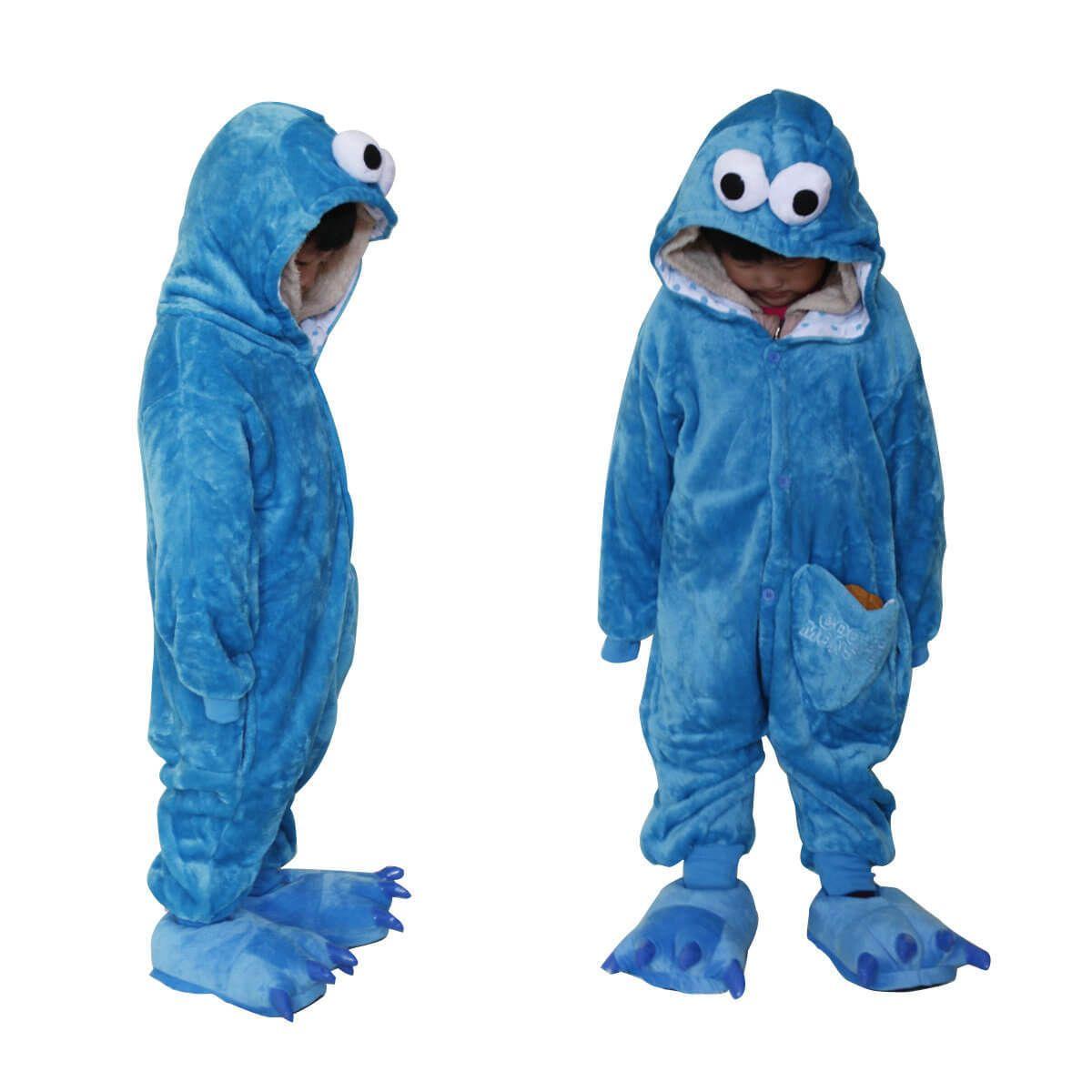 Sesame Street Cookie Monster Kids Onesies Pajamas Kigurumi Costume