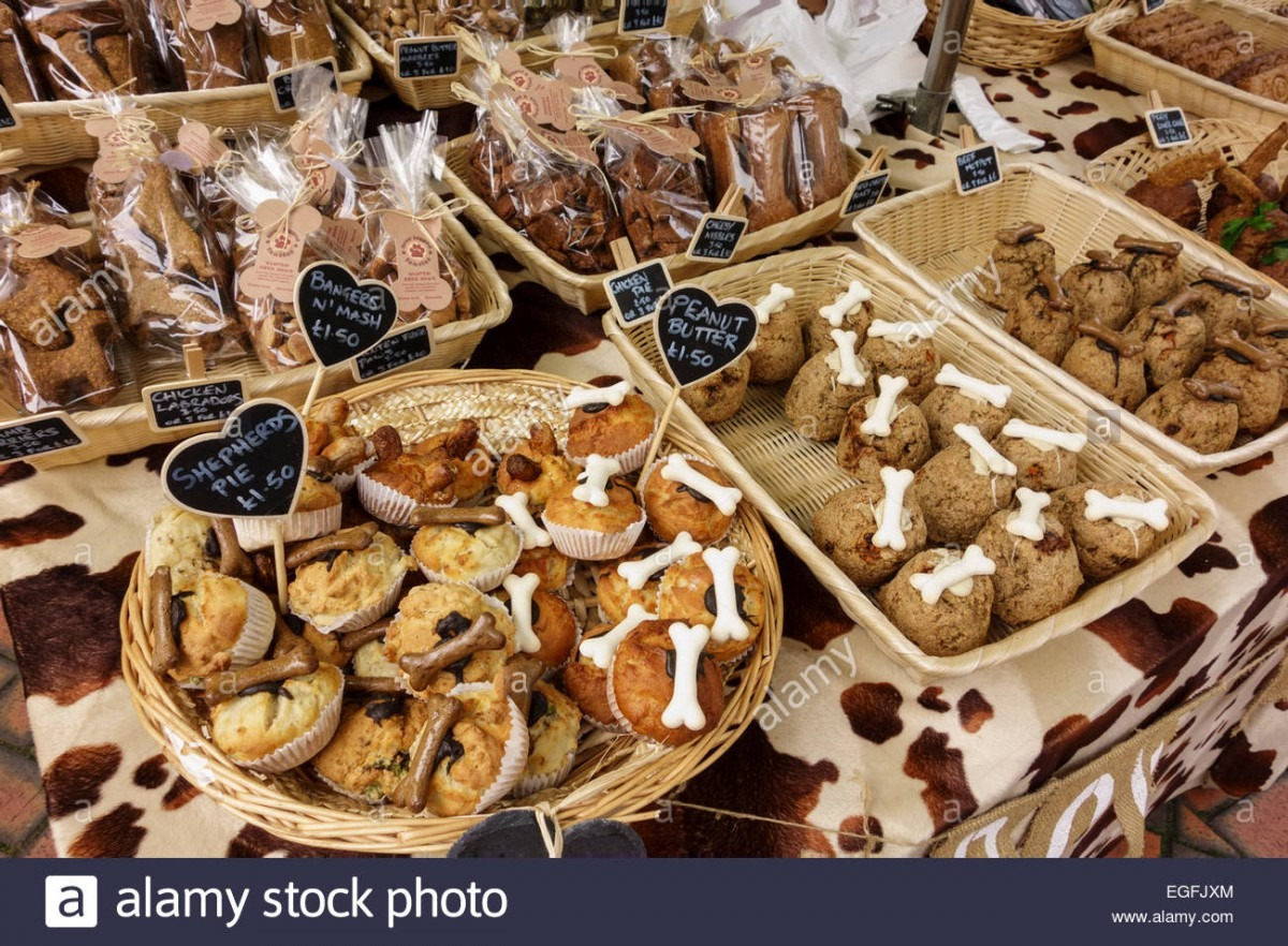 Various Novelty Dog Biscuits And Cookies For Sale At Outdoor