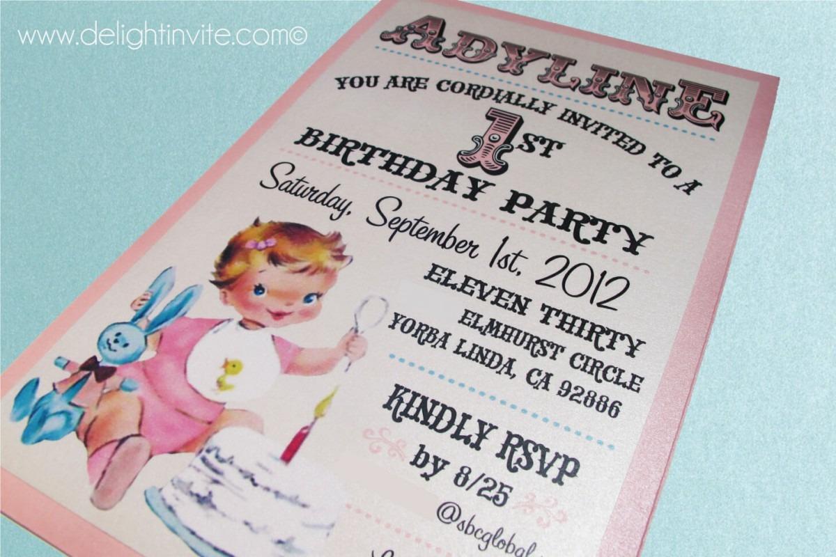 Vintagebaby Stbirthday Invitation Unique Vintage 1st Birthday