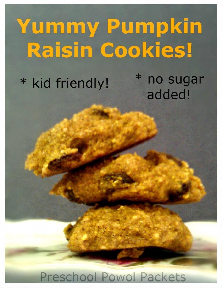 Yummy No Sugar Pumpkin Raisin Cookies & Back To School Snacks