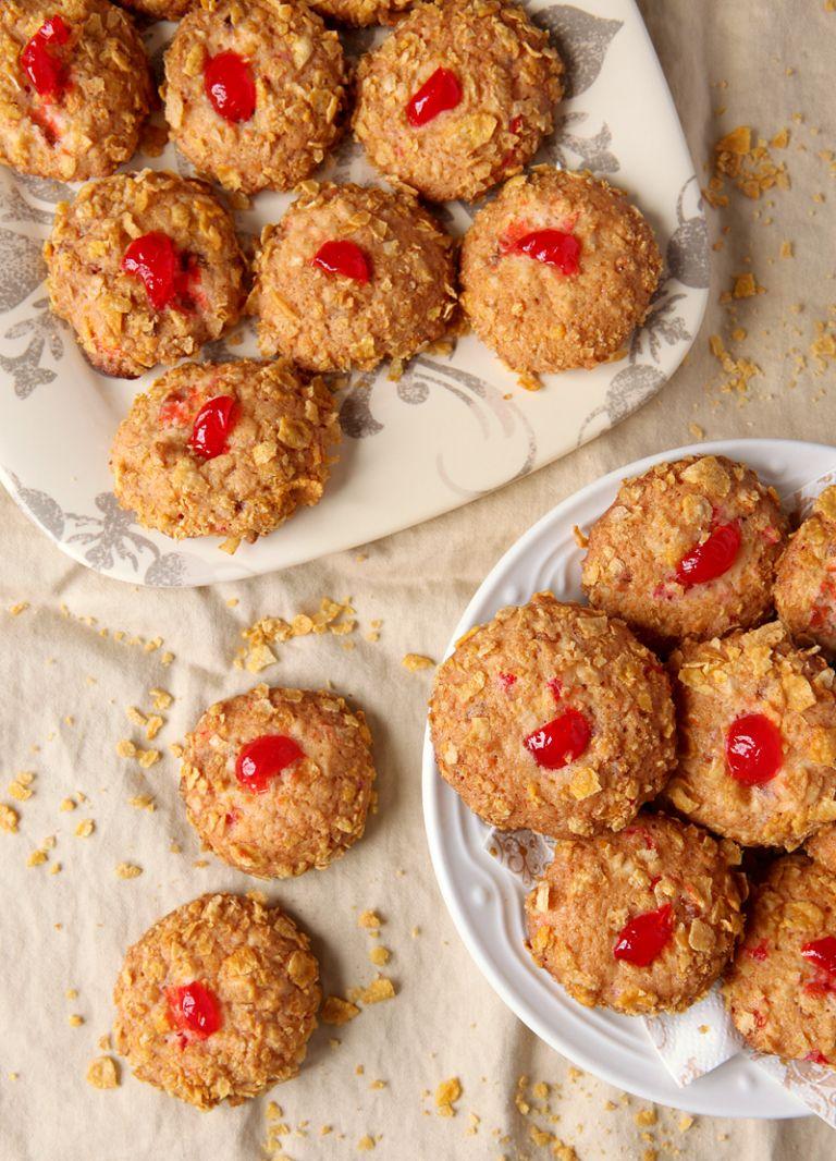 Cherry Winks Cornflake Cookies