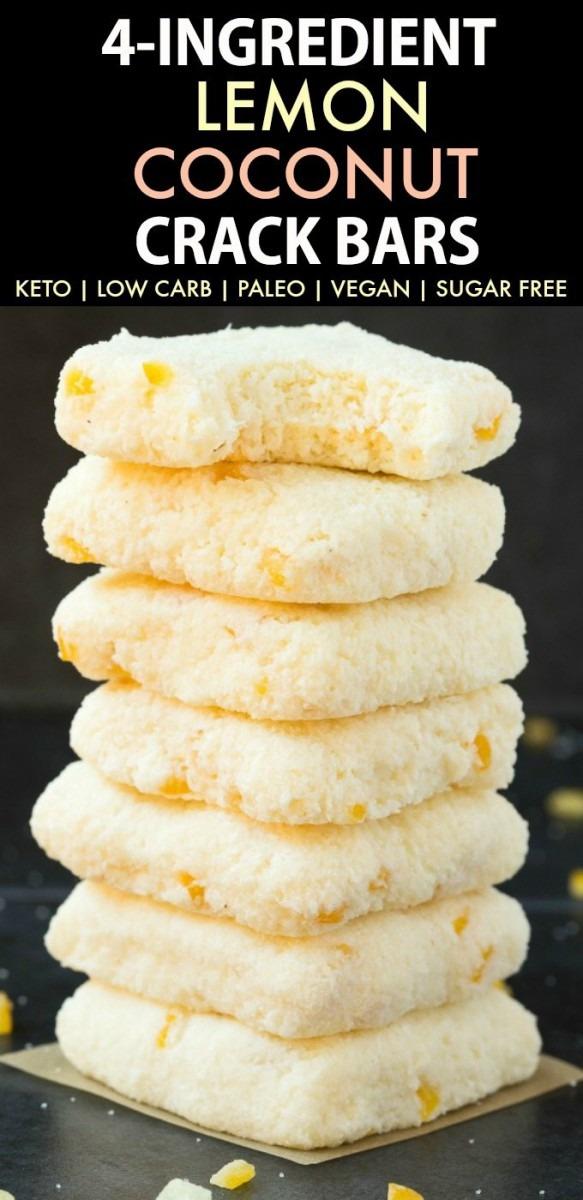 4 Ingredient Paleo Vegan Lemon Coconut Crack Bars (keto, Sugar Free)