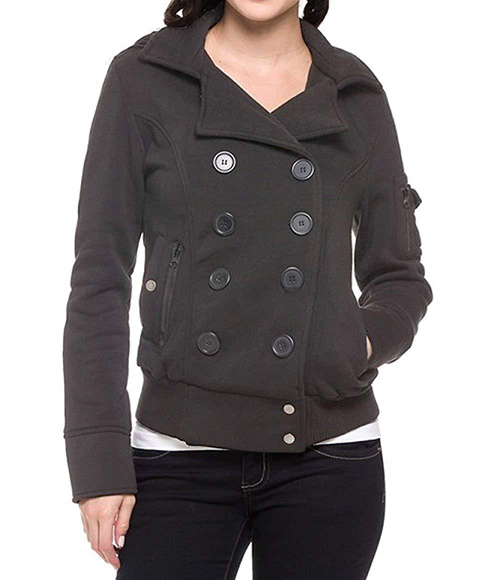 Amazon Com  Tough Cookie Clothing Fleece Double Breast Bomber Coat
