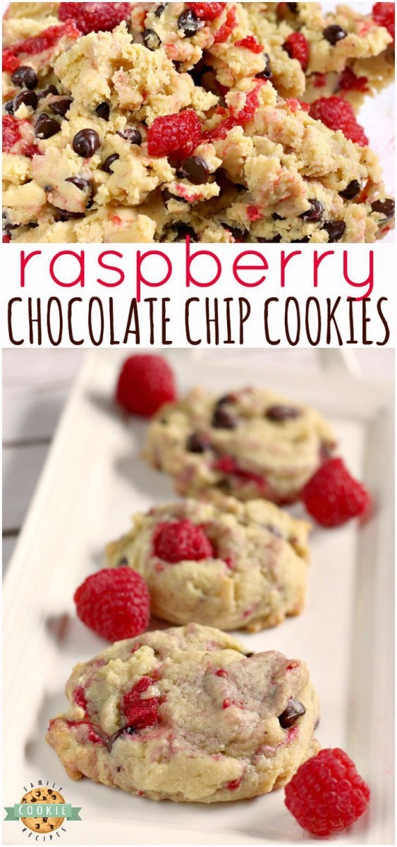 Raspberry Chocolate Chip Cookies Are Soft, Chewy And Absolutely