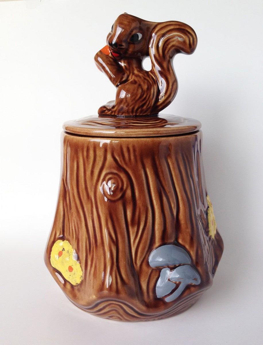 Vintage Squirrel Cookie Jar, Ceramic Kitchen Animal Decor, Storage