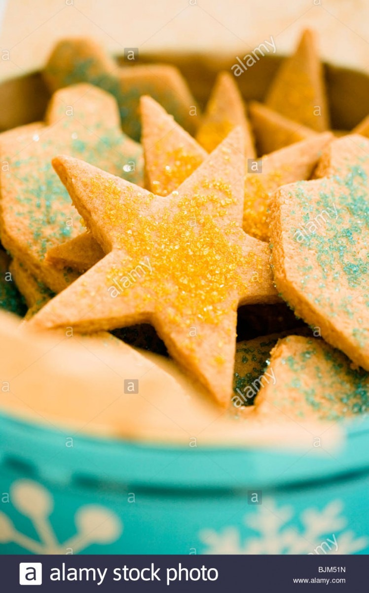 Bowl Of Sugar Cookies With Colored Sugar Crystals Stock Photo