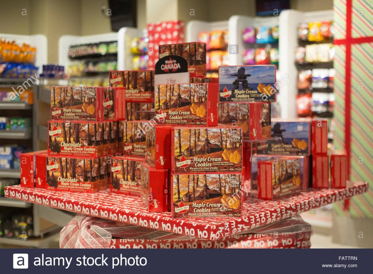 Canadian Maple Cream Cookies In Airport Store Stock Photo