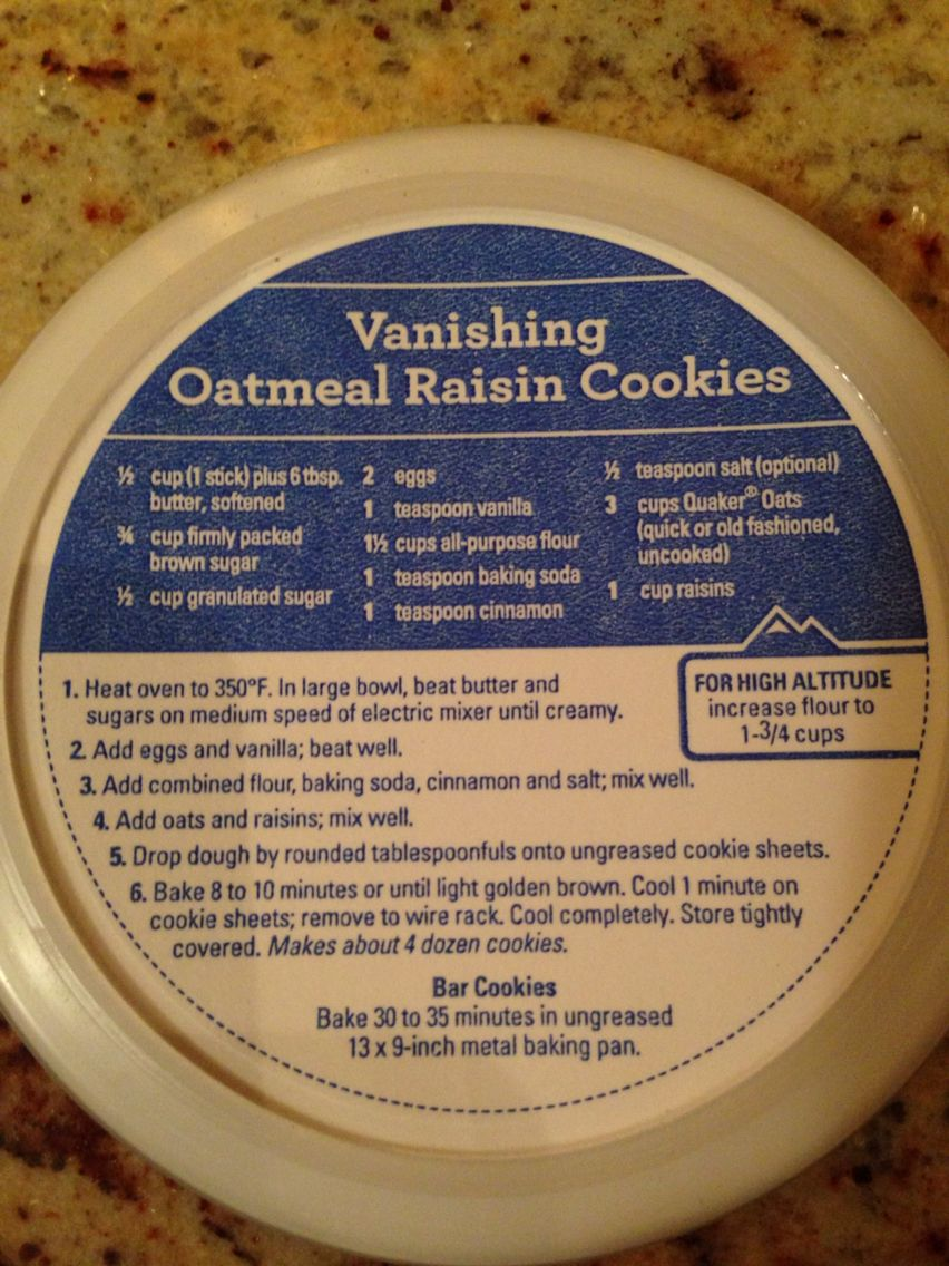 Quaker Oats Vanishing Oatmeal Raisin Cookies Next Time, Try Only 1