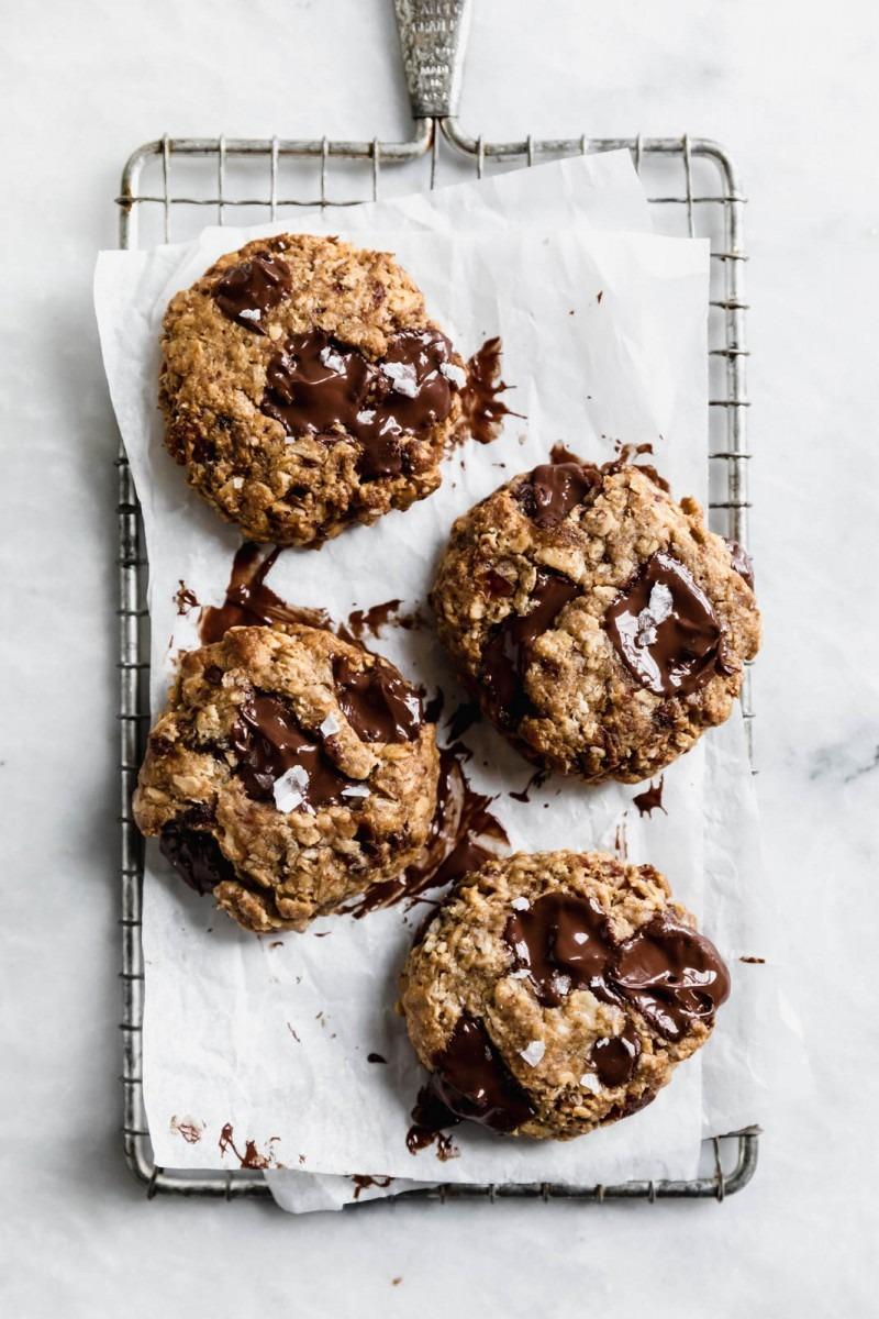 Gluten Free Tahini Oatmeal Chocolate Chunk Cookies