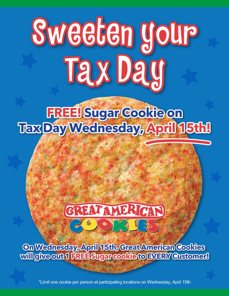 Great American Cookies® Sweetens Tax Day 2015 With One Free Sugar