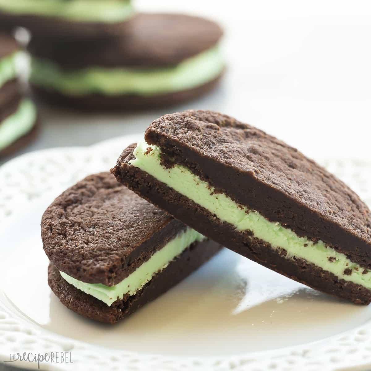 Homemade Mint Chocolate Oreos (sandwich Cookies)