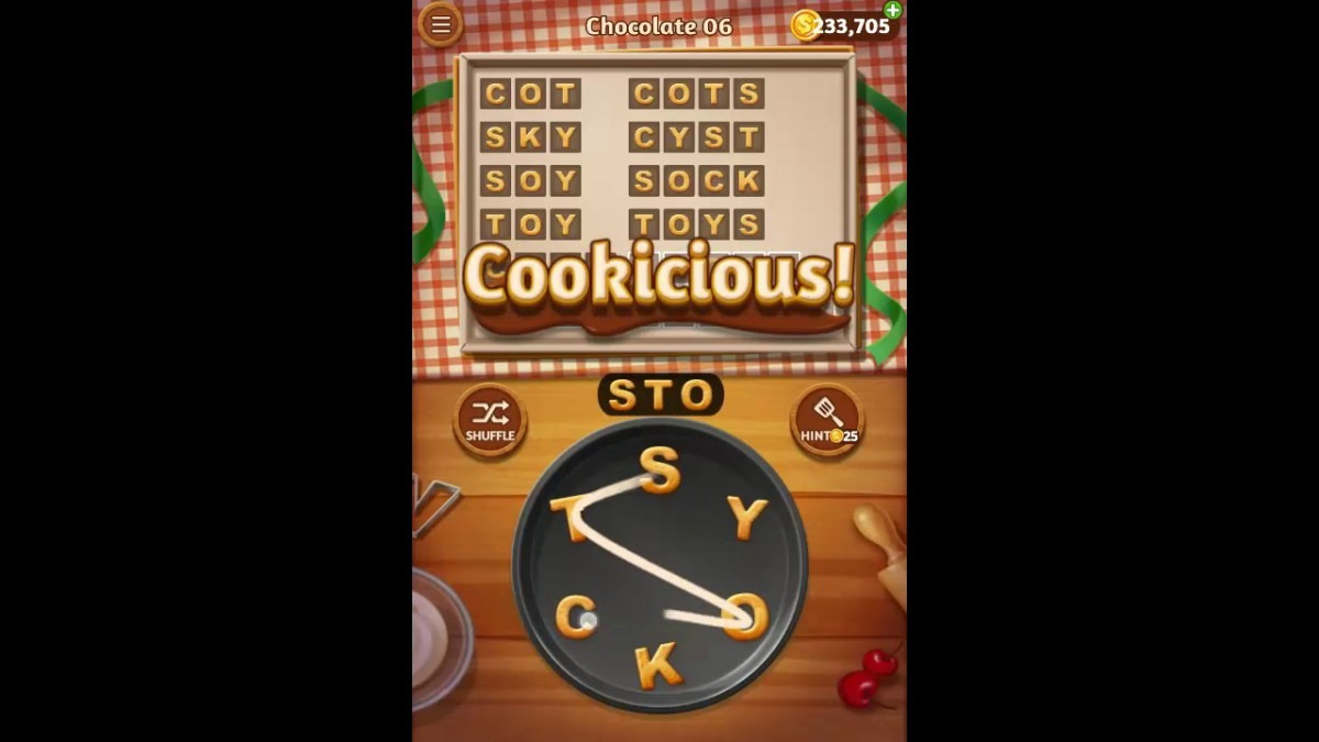 Word Cookies Chocolate Pack Level 6 Answers