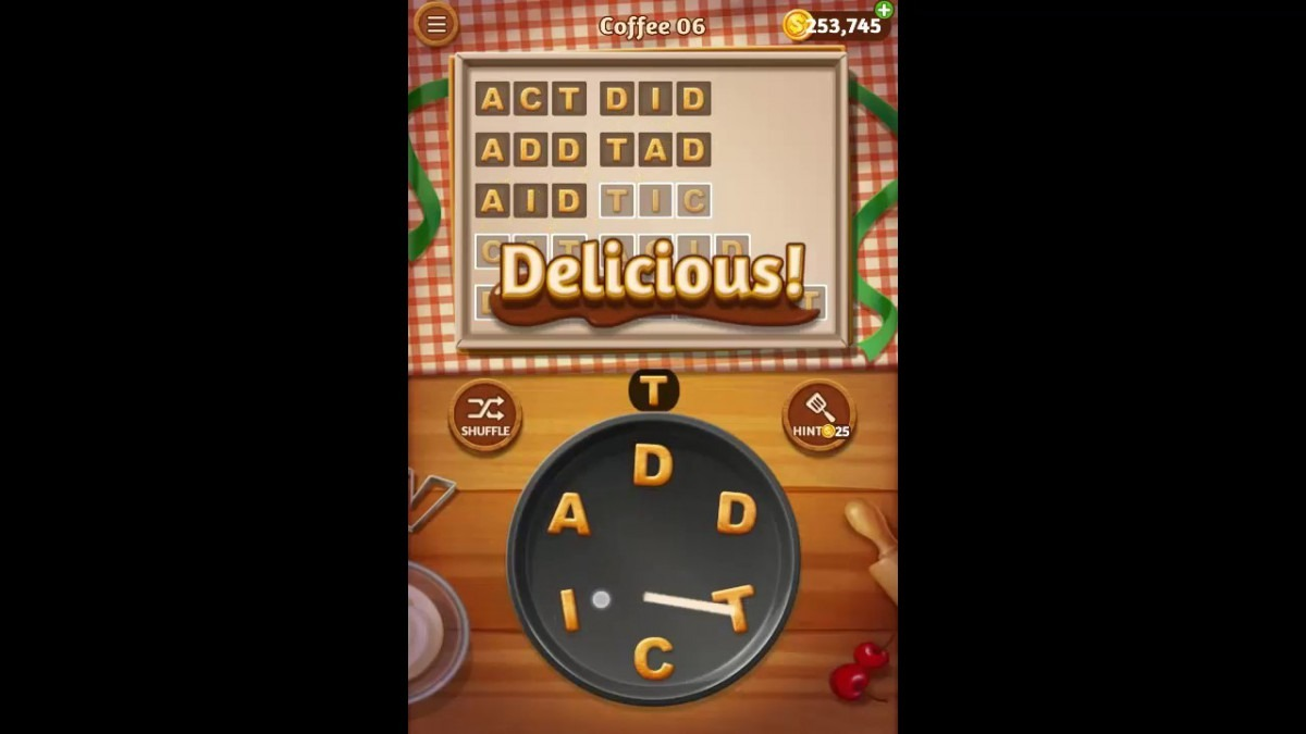Word Cookies Coffee Pack Level 6 Answers