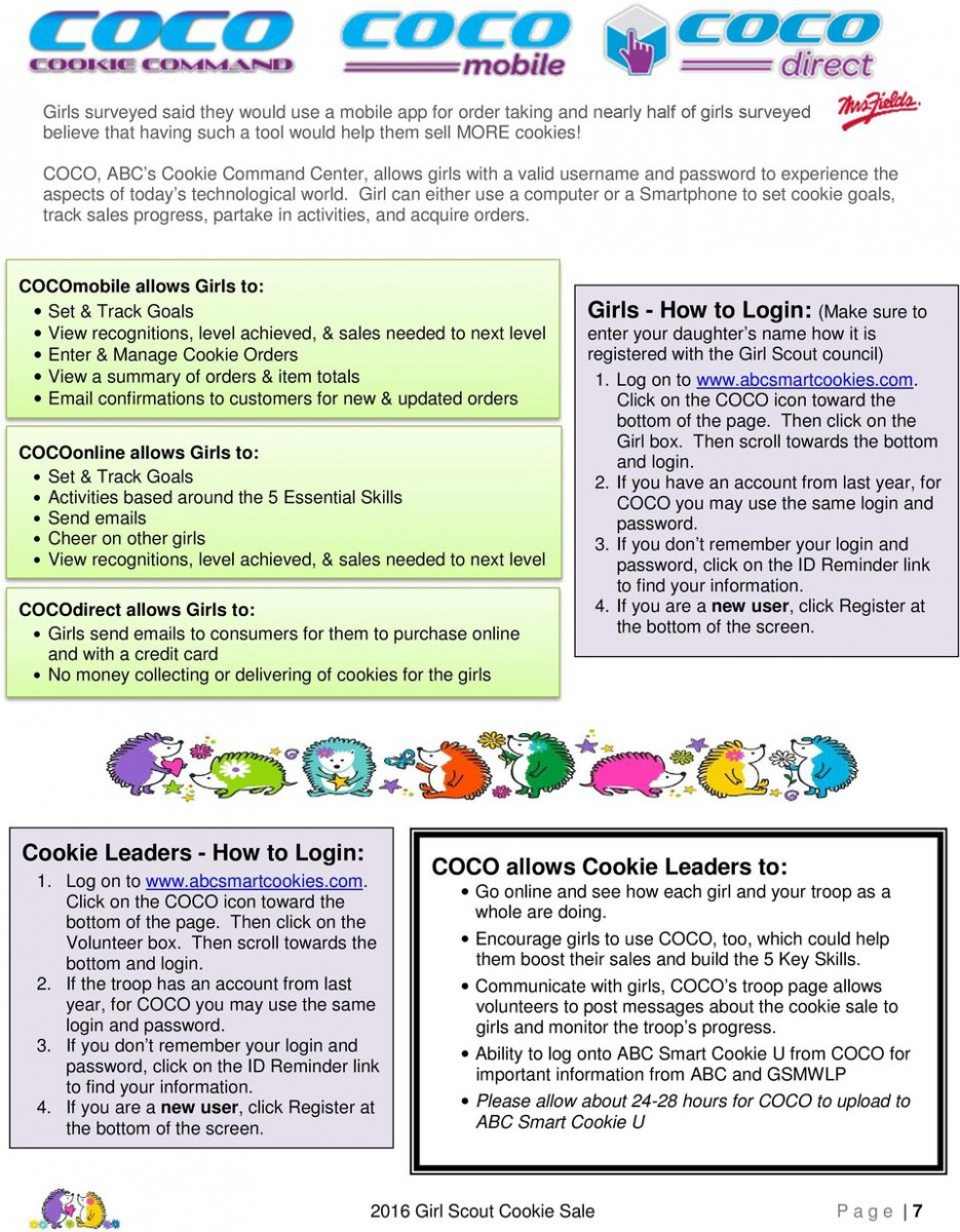 2016 Girl Scout Cookie Program Answer Book For Troop Product Sales