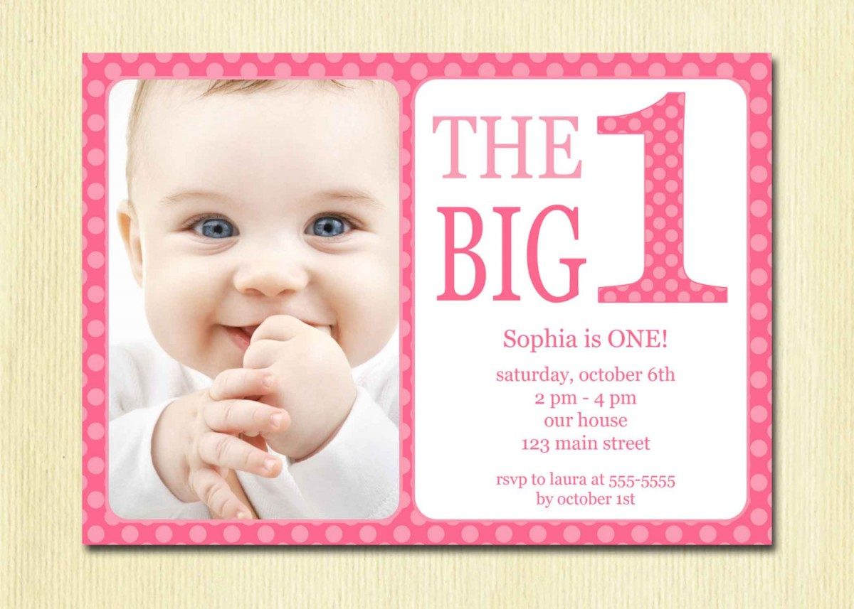 Polkadot Pink St Invitation Template Best One Year Birthday Party