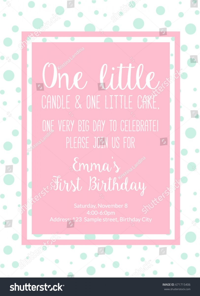 First Birthday Invitation Girl First Birthday Stock Vector