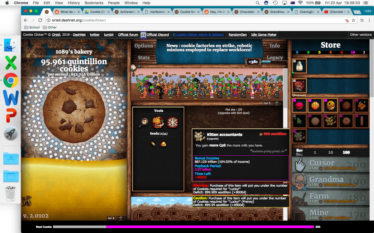 Over 9000' Easter Egg In Cookie Monster    Cookieclicker