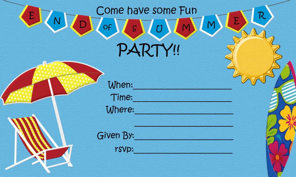 004 Summer Party Invites Templates Template Ideas Summerinvite