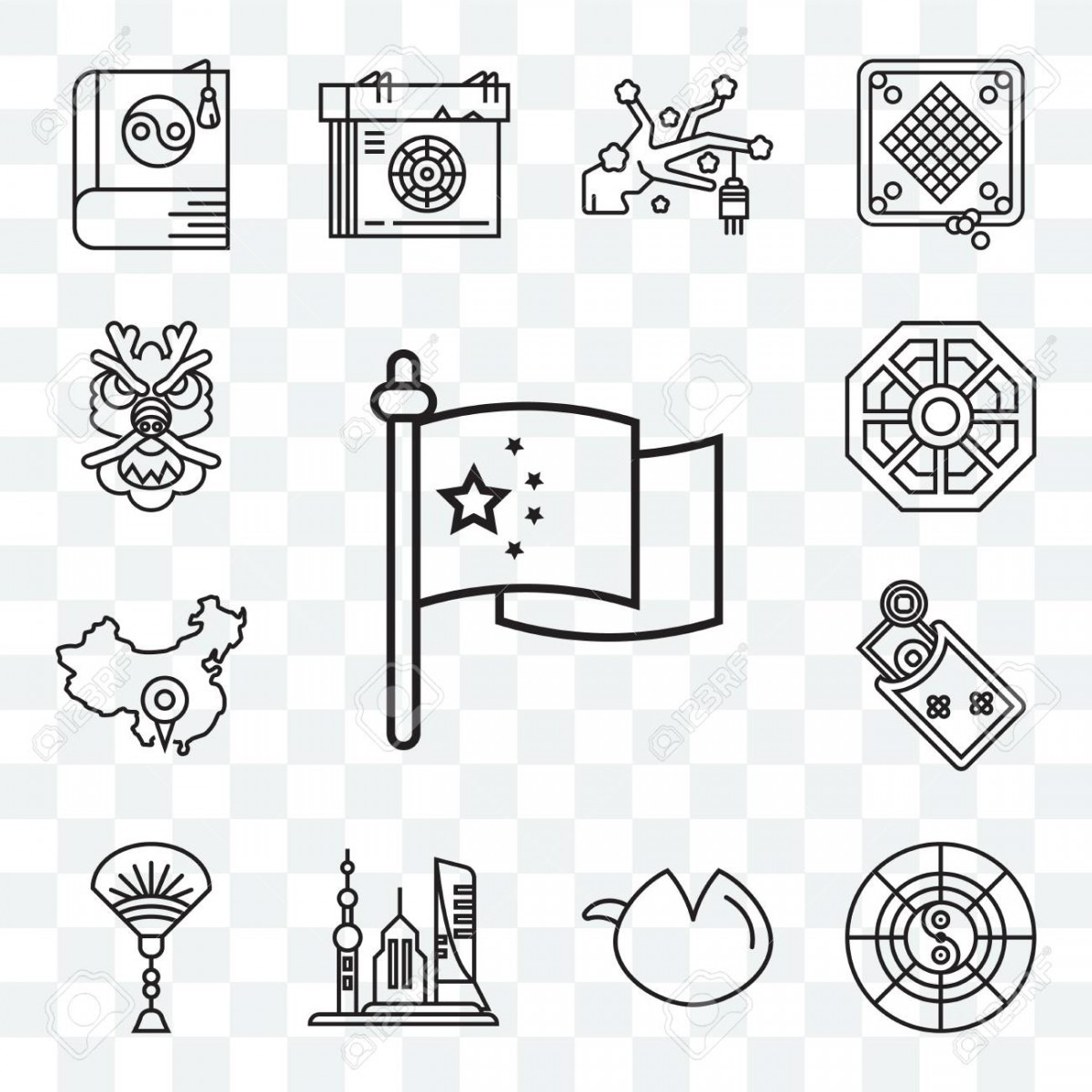 Set Of 13 Transparent Editable Icons Such As Flag, Horoscope