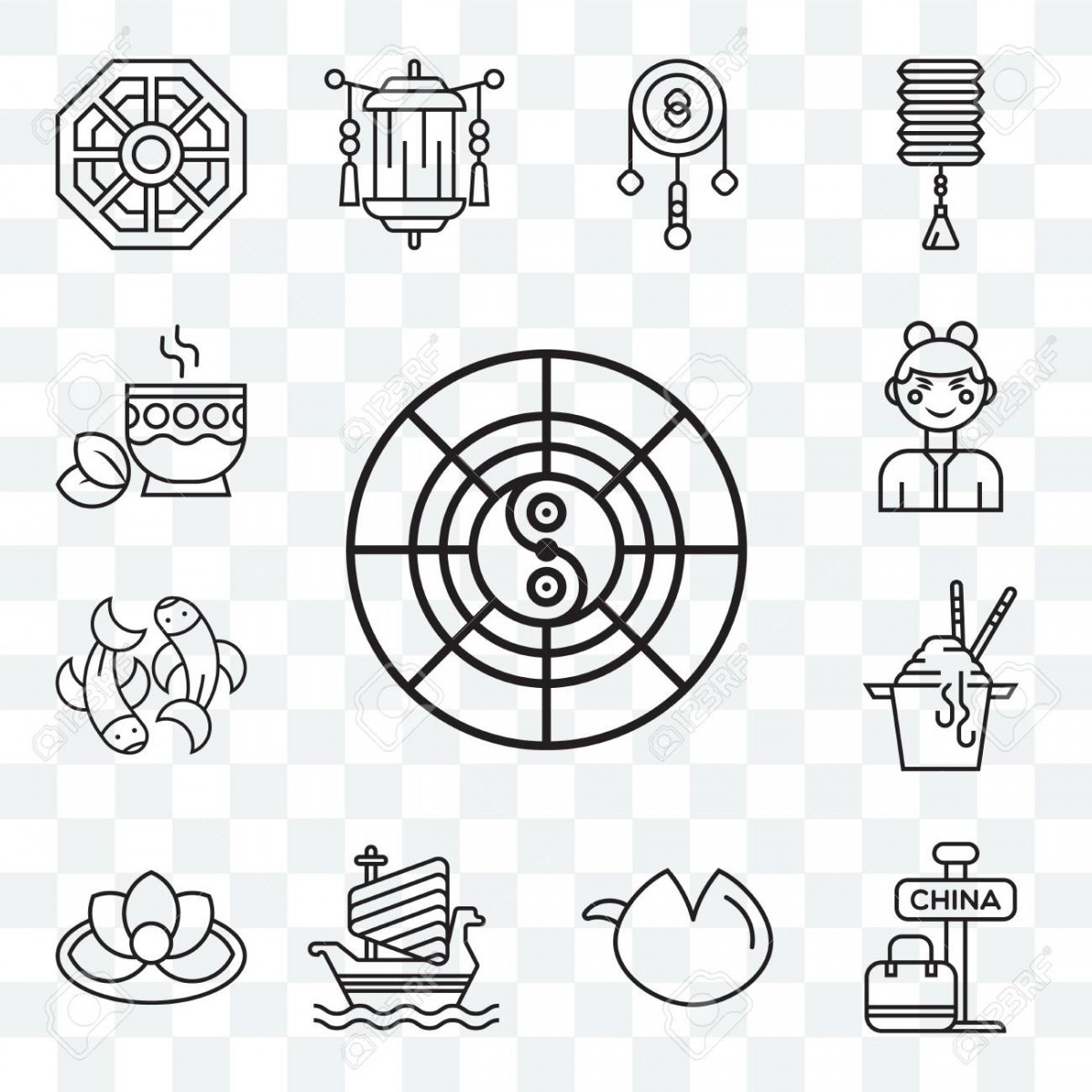 Set Of 13 Transparent Editable Icons Such As Horoscope, China